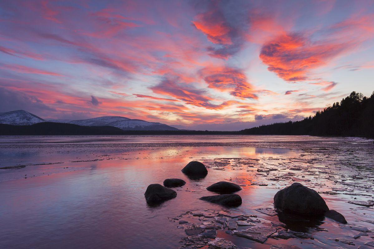 Loch Morlich at sunset in winter.