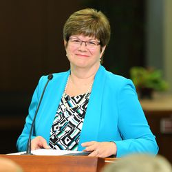 President Robin Linkhart of the Community of Christ speaks as the LDS Church, in cooperation with the Community of Christ announces the release of the printers manuscript of the the Book of Mormon, during a press conference Tuesday, Aug. 4, 2015, at the LDS Church's History library in Salt Lake City.
