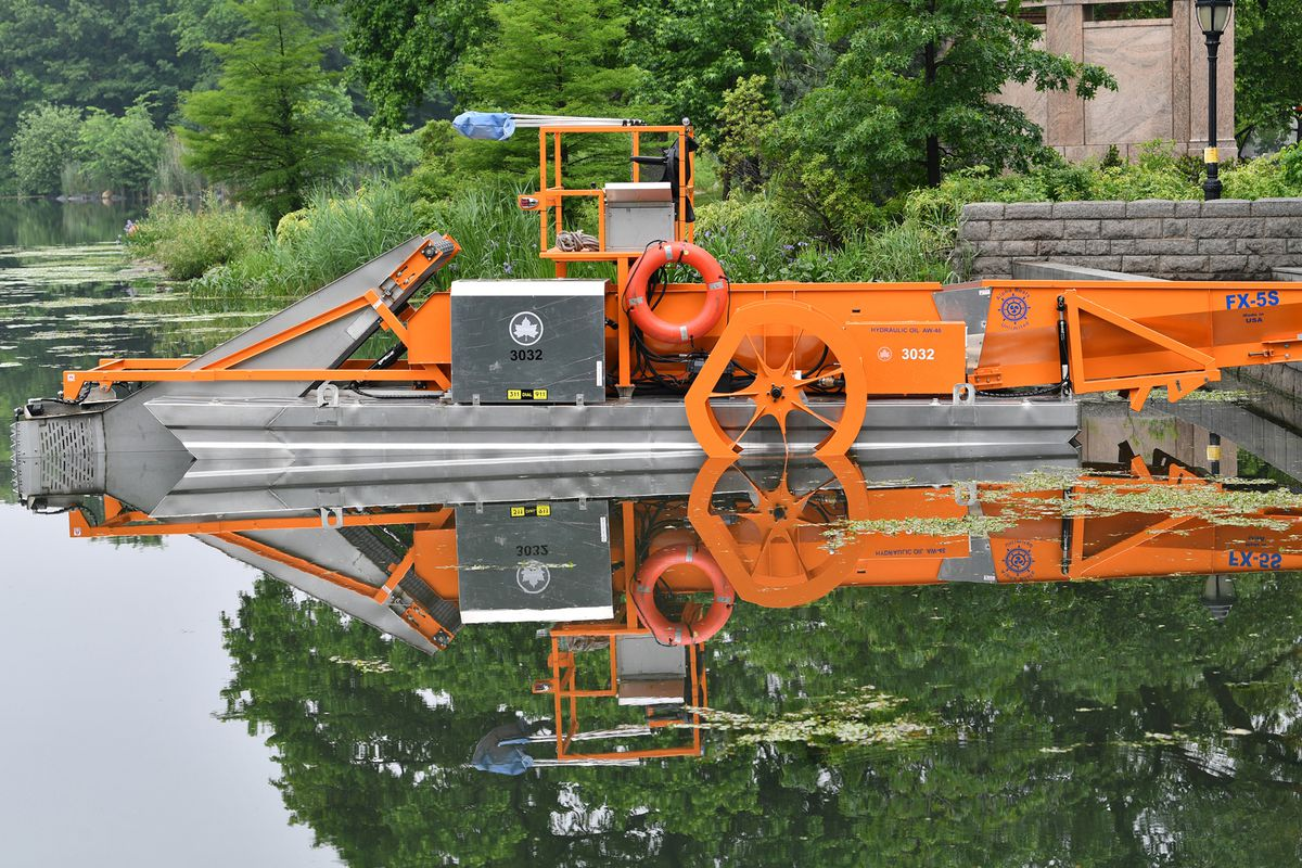 The Prospect Park Alliance uses the weed harvester as an ecological tool to help maintain the lake.