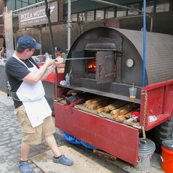 Pizza Moto's pizza oven, fired up and ready to go.