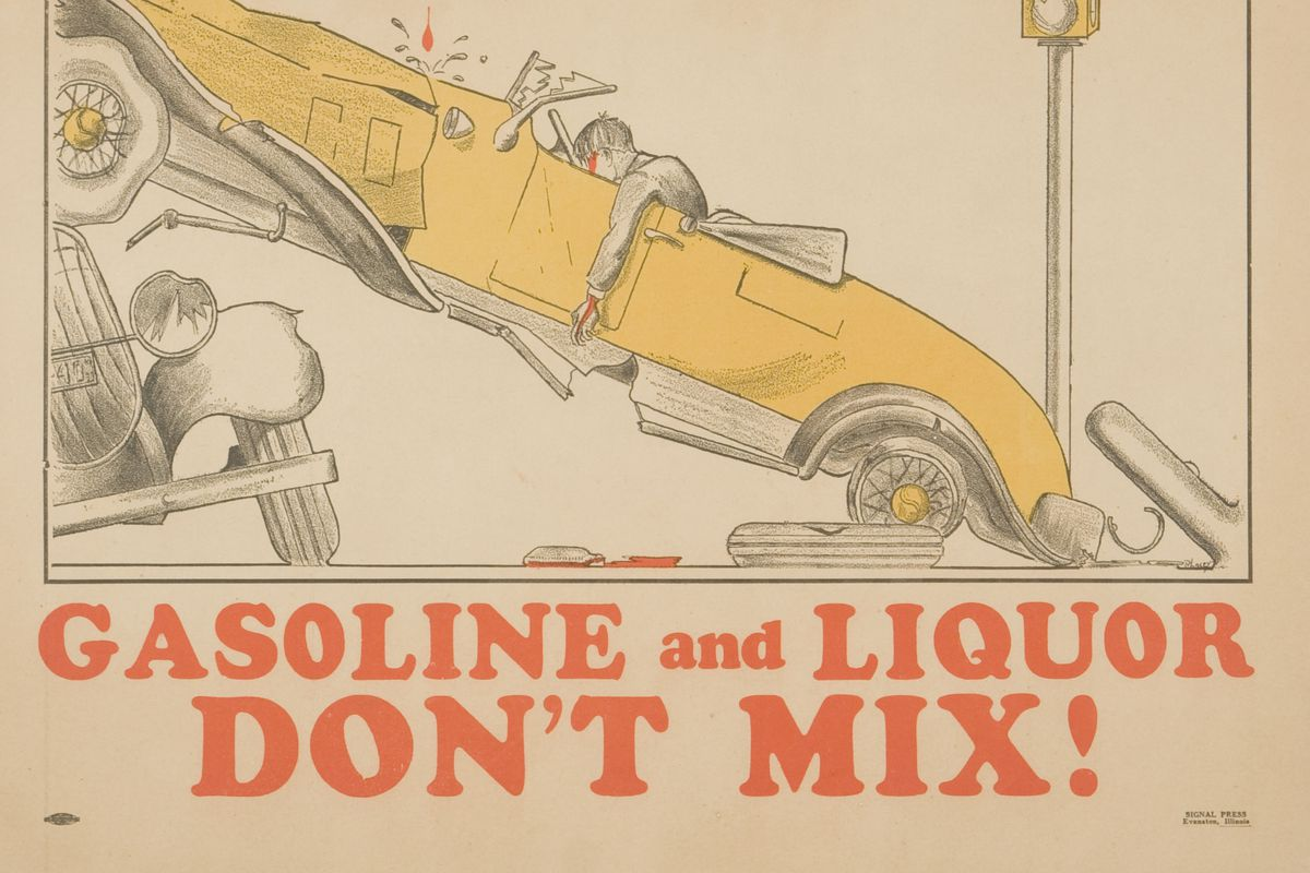 Gasoline and Liquor Don't Mix! Poster