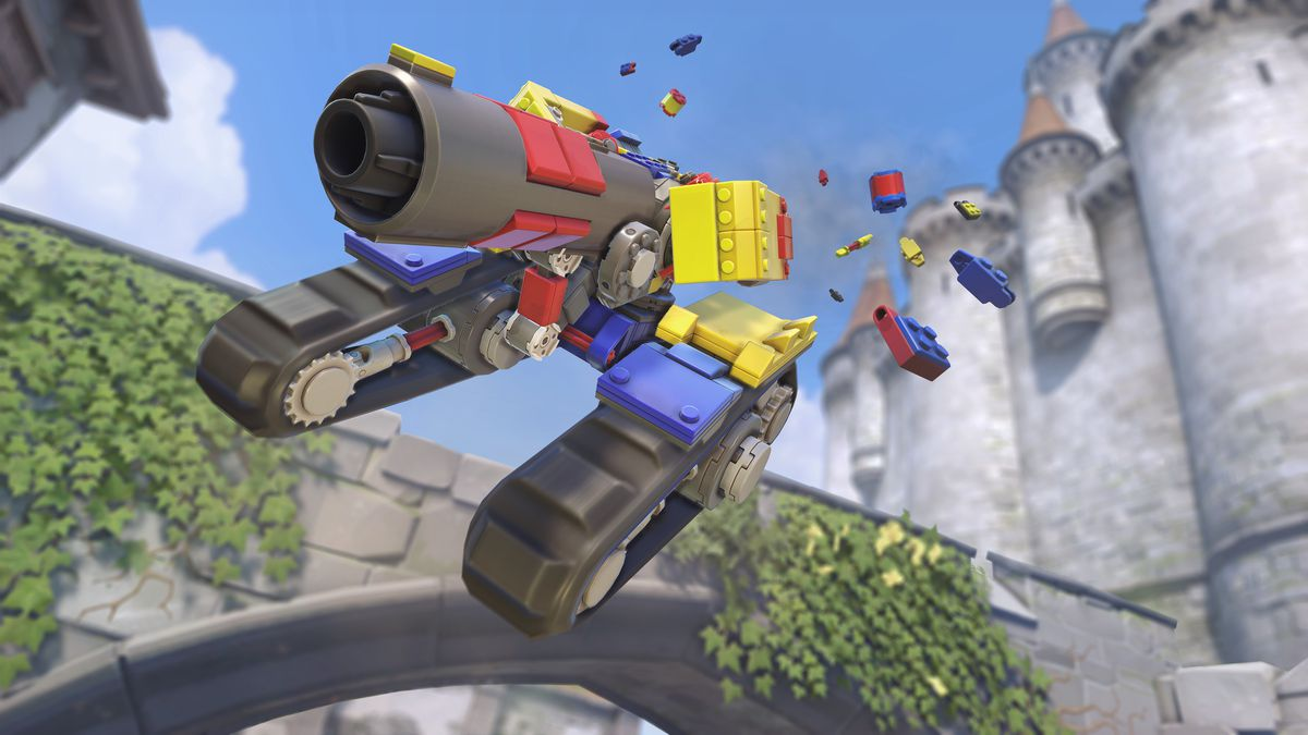 Bastion jumps through the air in tank form in his colorful Lego-inspired Brick Bastion skin in a screenshot from Overwatch.