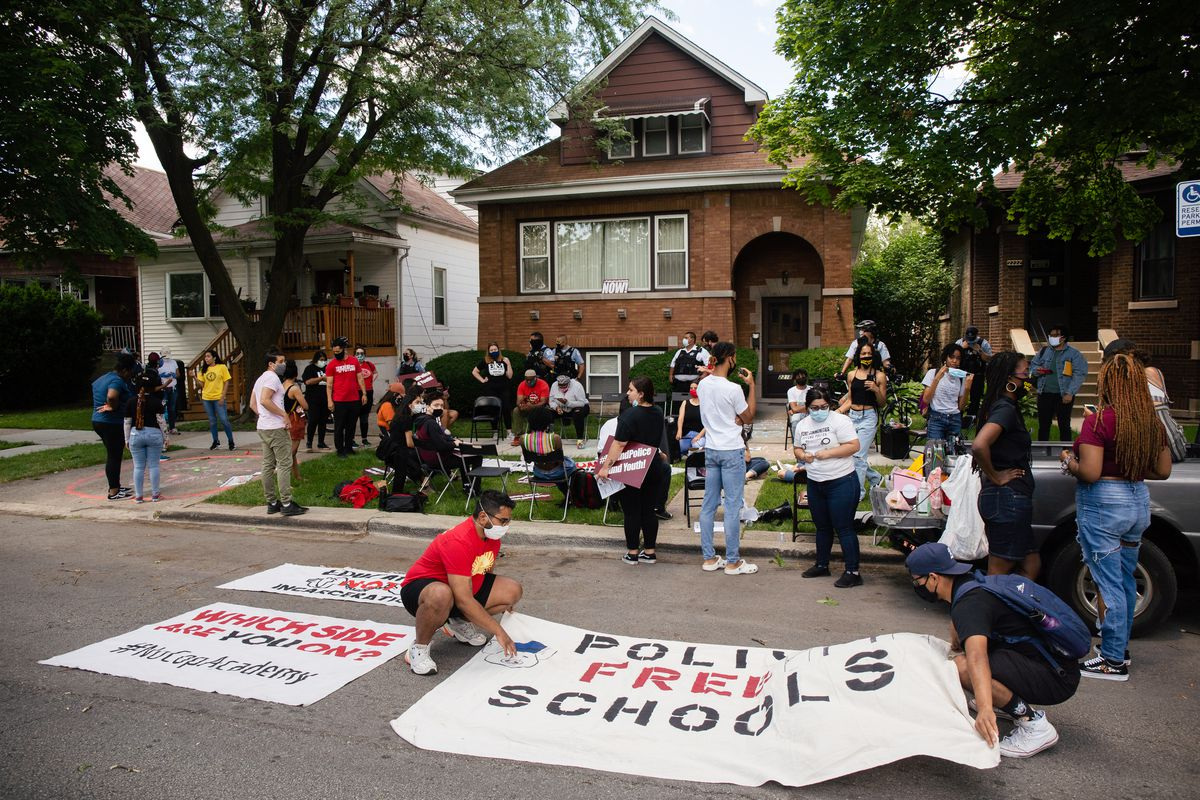 Youth activists staged a teach-in outside Chicago Board of Education President Miguel del Valle's home in Belmont Cragin last week as the board met and voted to keep its $33 million contract with the Chicago Police Department, leaving it up to individual Local School Councils to decide if they want officers in their individual schools.