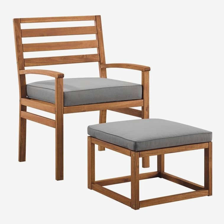 Wood and gray fabric chair and ottoman.