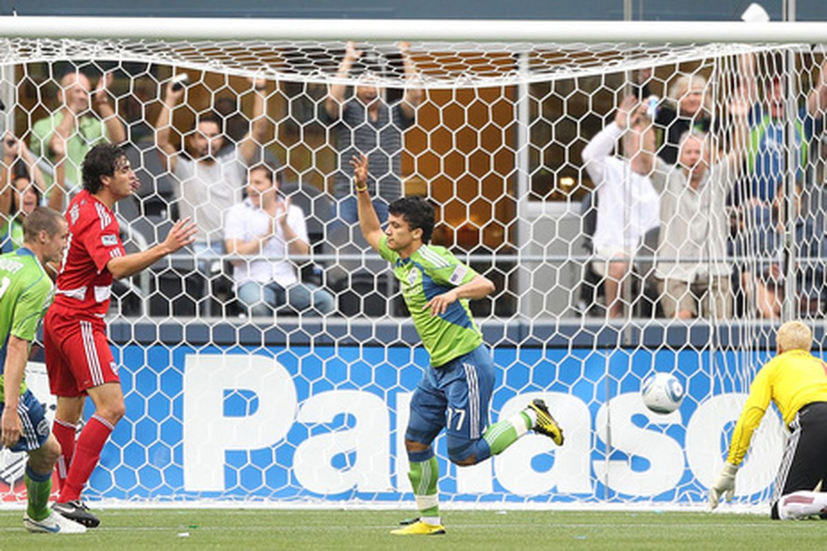 Fredy Montero celebrates his sixth goal of the season, the fifth straight game in which he has registered a goal or an assist.