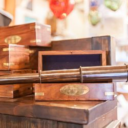 The pirate store will have you know that this spyglass, <b>$33</b>, is up to three times more convenient than regular vision.