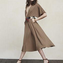 """Andy dress, <a href=""""https://www.thereformation.com/products/andy-dress-camel"""">$98</a>"""