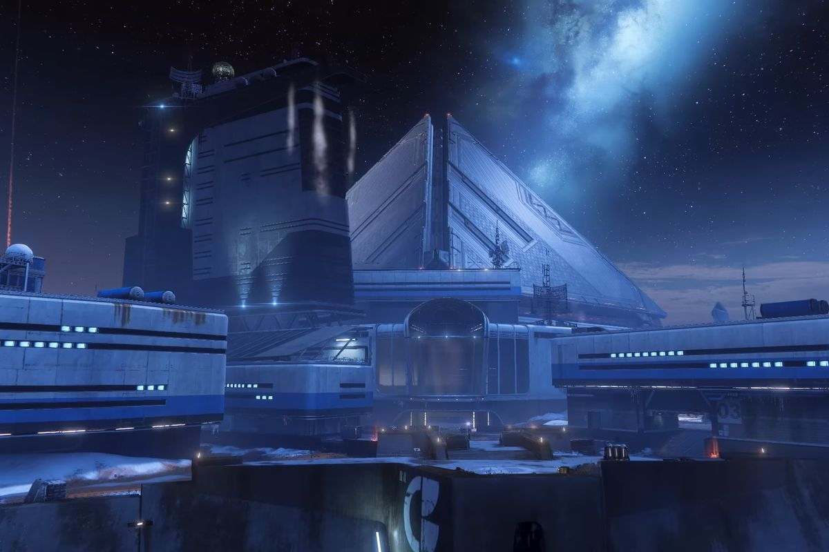 Rasputin, a large complex with a triangular structure pointing upward, in Destiny 2