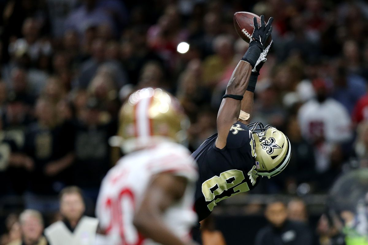 Jared Cook of the New Orleans Saints catches a 26 yard touchdown catch thrown by Drew Brees against the San Francisco 49ers during the first quarter in the game at Mercedes Benz Superdome on December 08, 2019 in New Orleans, Louisiana.