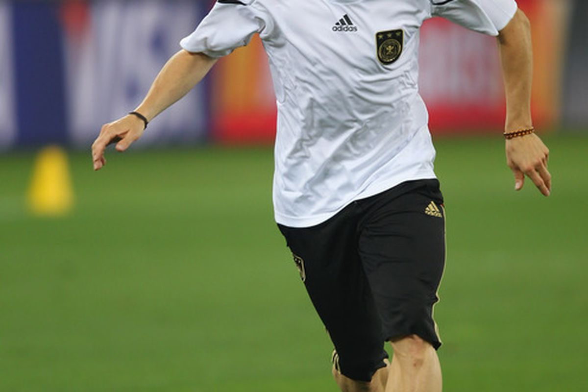 Germany's Bastian Schweinsteiger: along with Uruguay's Diego Forlan, my two players of the tournament so far.