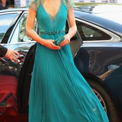 Arriving at a concert on May 11th, 2012 in a Jenny Packham gown and Jimmy Choo shoes.