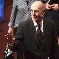 President Henry B Eyring waves to the audience following the Saturday morning session of the 183rd Semiannual General Conference for the Church of Jesus Christ of Latter-day Saints Saturday, Oct. 5, 2013 inside the Conference Center.
