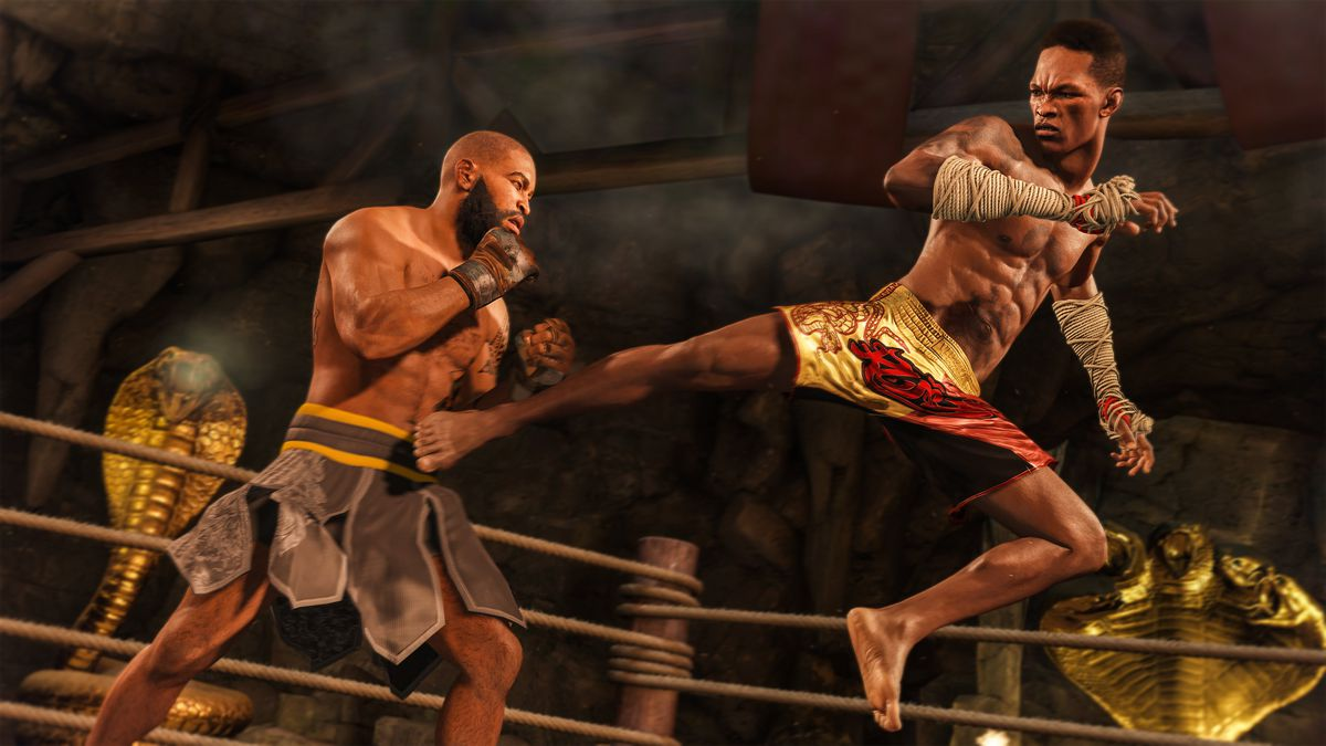 Two martial artists in garish fight costumes duke it out in an over-the-top arena with brass cobras lurking behind.