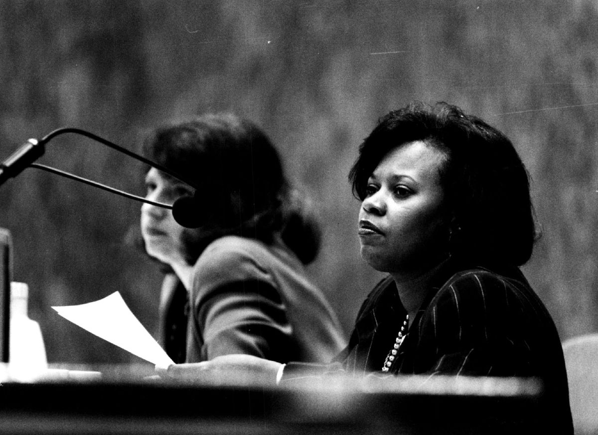Ald. Lorraine Dixon at a City Council meeting. Dixon died in 2001.