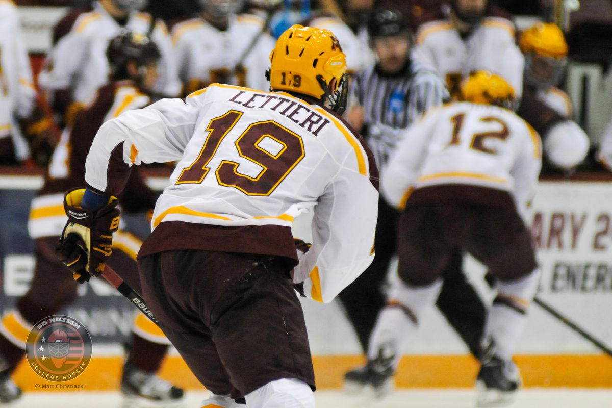 Minnesota forward Vinni Lettieri is one of two players to be suspended by the Big Ten.