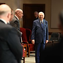 President Russell M. Nelson of The Church of Jesus Christ of Latter-day Saints walks into an auditorium in the Church Office Building at Temple Square for the Saturday afternoon session of the 190th Annual General Conference on Saturday, April 4, 2020.
