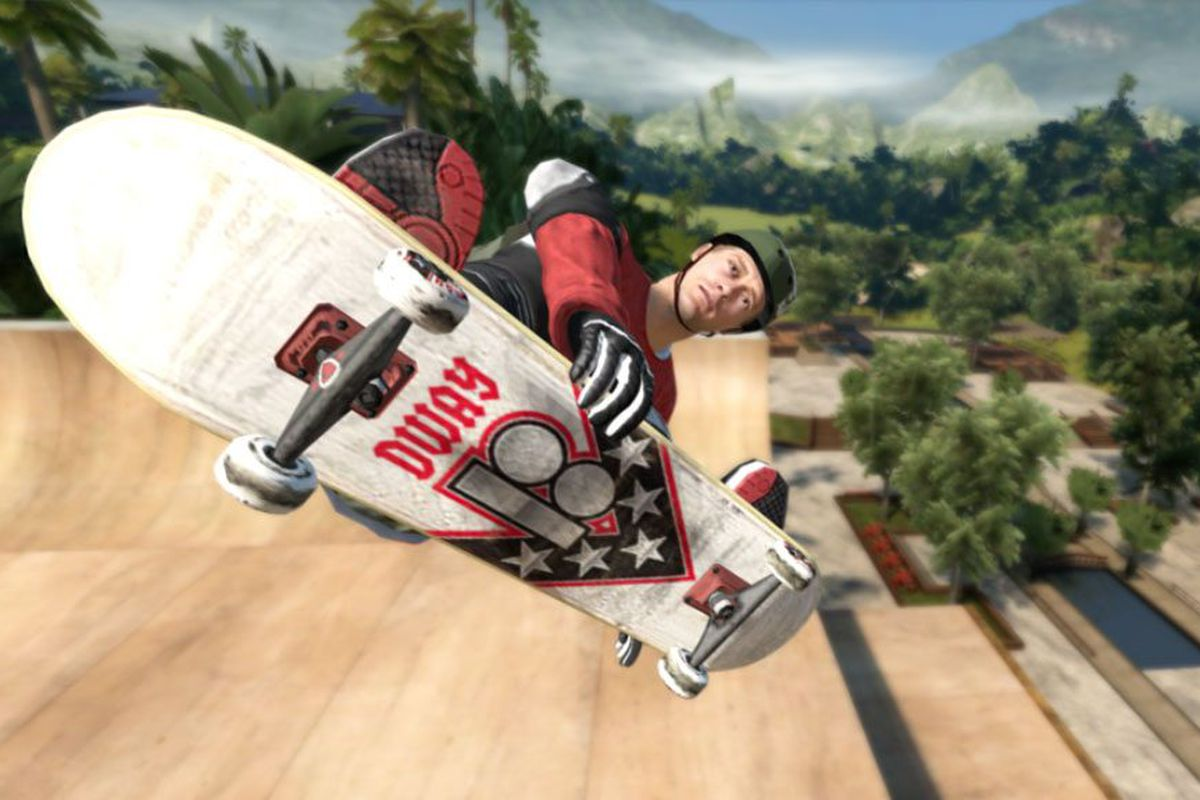 An avatar of a digital skater grabs his board while staring blankly into the camera.