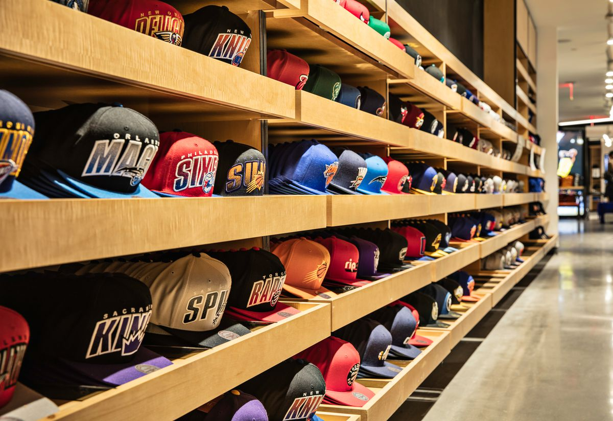The hat display inside the new NBA Store in Midtown Manhattan, run by Fanatics