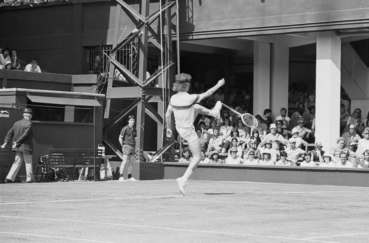 McEnroe Kicking Racket at Wimbledon