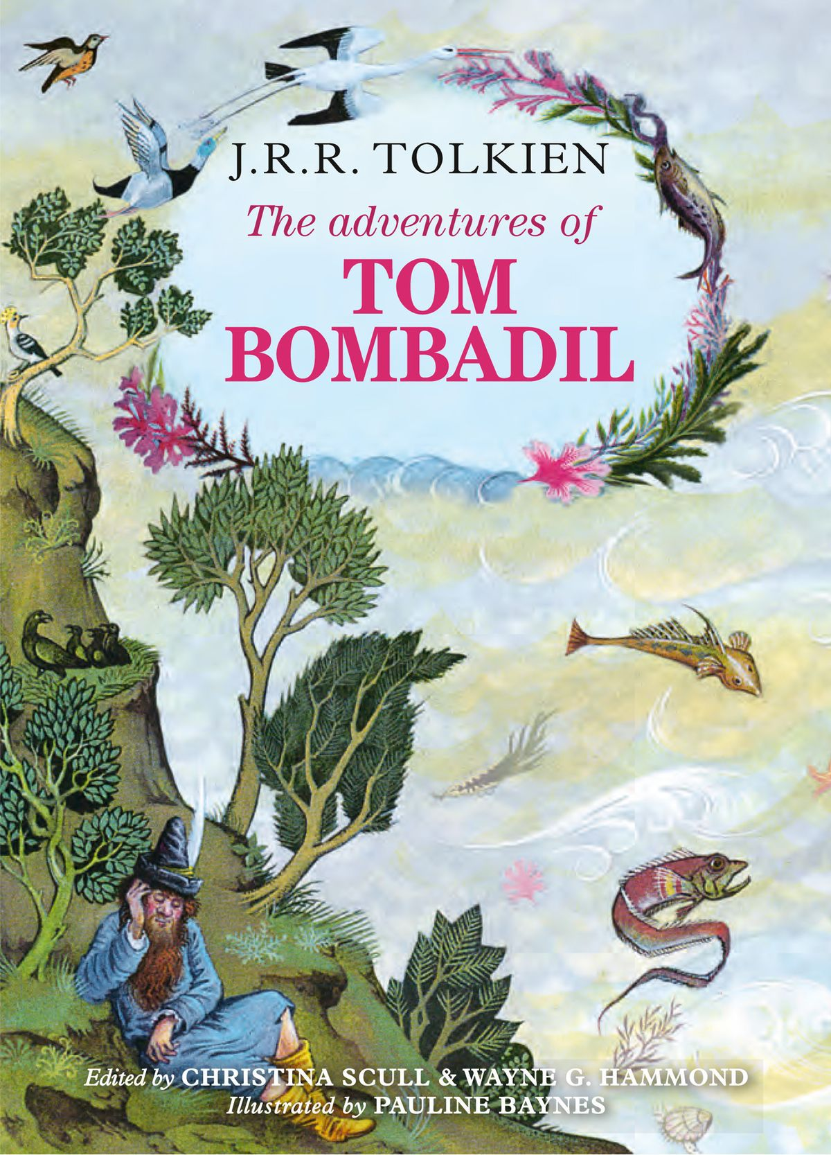 Tom Bombadil sits by a river on the cover of The Adventures of Tom Bombadil.