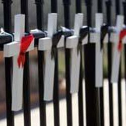 Crosses representing the victims of the Mountain Meadows Massacre are placed on the fence during an event marking the 150th anniversary of the Mountain Meadows Massacre at the memorial site near Enterprise. The red ribbons mark the children that were spared during the attack.