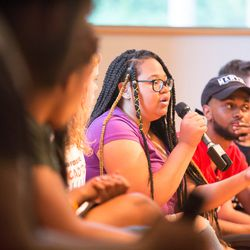 Chicago student Rie'Onna Holmon at the March For Our Lives town hall meeting at The DuPage Unitarian Universalist Church, Naperville, June 16th, 2018. | James Foster/For the Sun-Times