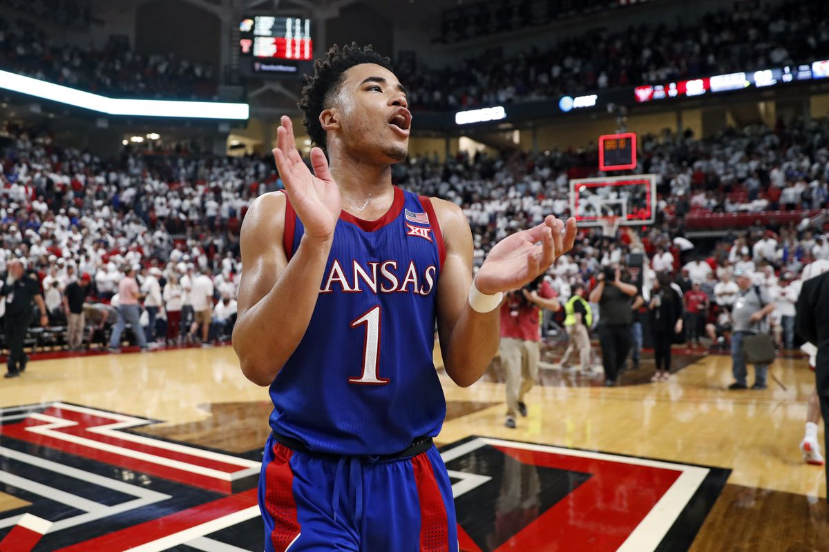 Kansas' Devon Dotson celebrates after a game against Texas Tech on March 7, 2020. The Jayhawks are ranked No. 1 in the final AP poll of the season.