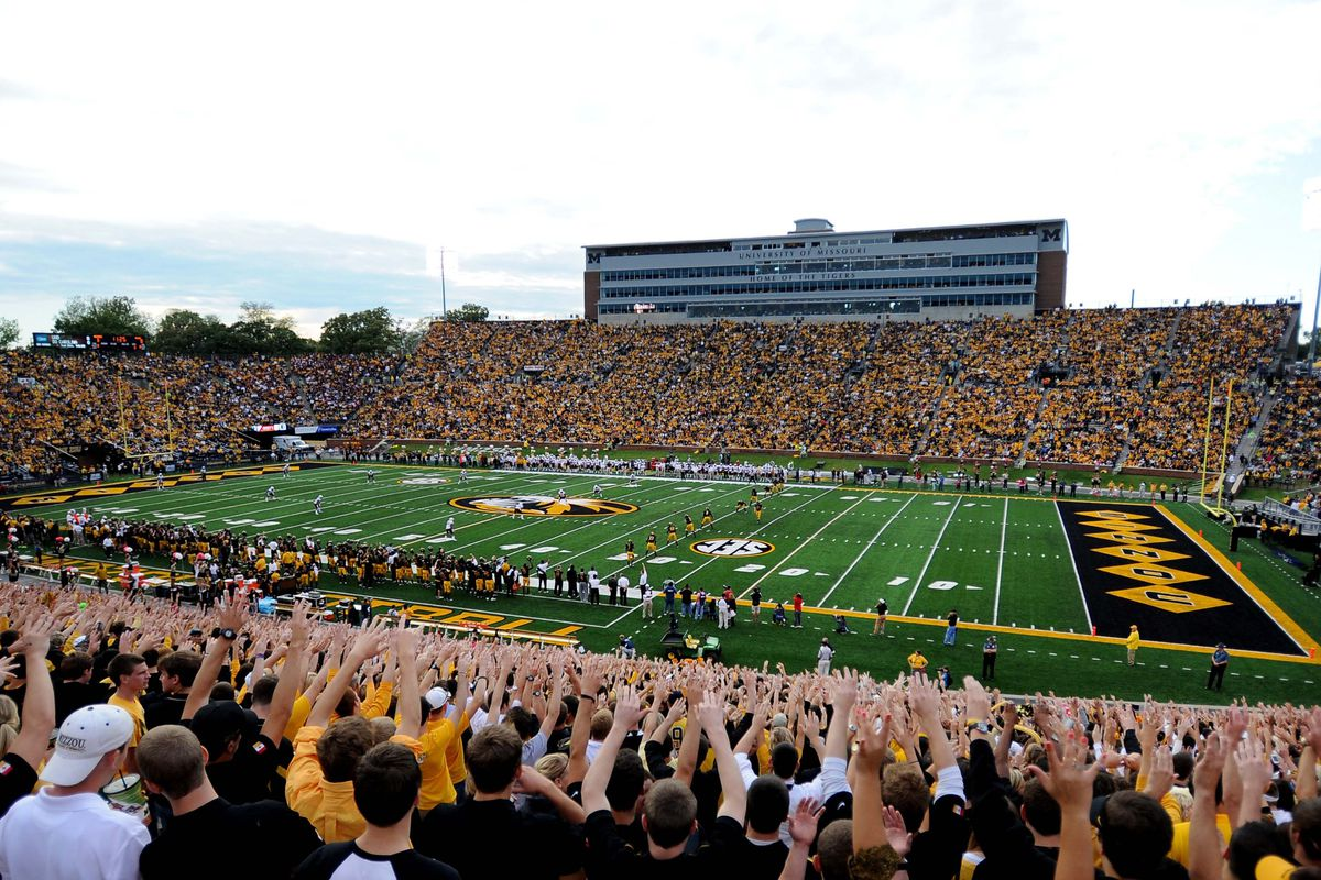 September 15, 2012; Columbia, MO, USA; A general view as fans cheer for kickoff in the game between the Missouri Tigers and Arizona State Sun Devils at Faurot Field. Missouri won 24-0.  Mandatory Credit: Dak Dillon-US PRESSWIRE