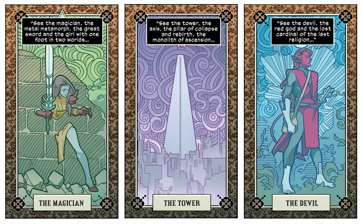 Rasputin, as The Magician card, the tower of Nimrod the Lesser as The Tower card, and Cardinal as The Devil card, in Powers of X #1, Marvel Comics (2019).
