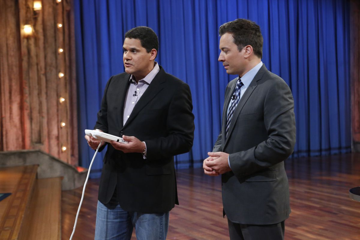 Former Nintendo of America boss Reggie Fils-Aime and Jimmy Fallon play the Wii U on Late Night with Jimmy Fallon in 2012.