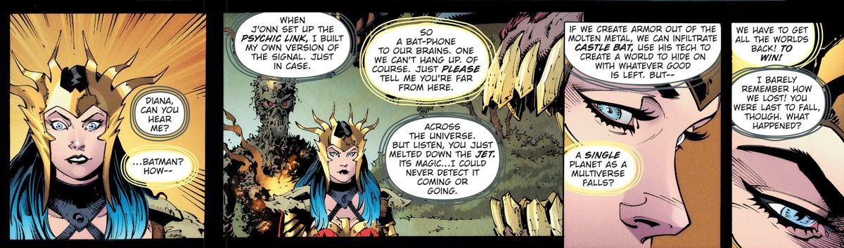 Wonder Woman receives her first communication from Batman over psychic link since the Justice League crossed the portal, in Dark Nights: Death Metal #1, DC Comics (2020).