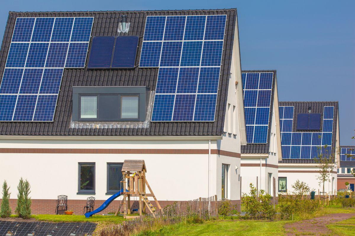 Suburban house with solar panel
