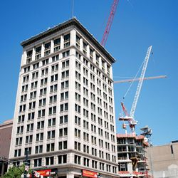 The Deseret Building, an early skyscraper dating to 1919, still stands on the corner of Main Street and 100 South in downtown Salt Lake City.