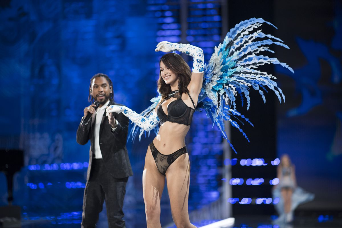 b78568c3677af Bella Hadid and artist Miguel on the runway at the 2017 Victoria s Secret  fashion show. Timur Emek FilmMagic