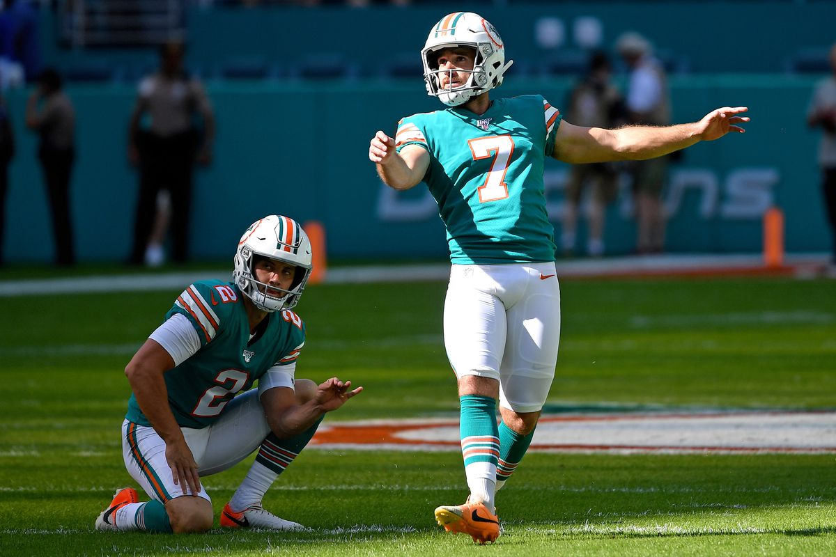 Miami Dolphins kicker Jason Sanders warms up before a game against the Philadelphia Eagles at Hard Rock Stadium.
