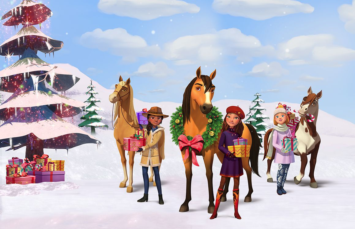 girls stand next to their horses in the snow, it's the SPIRIT OF CHRISTMAS BABY