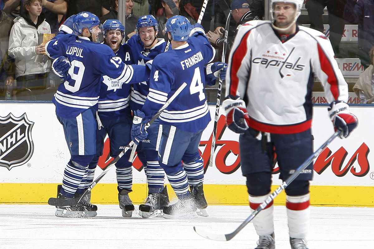 TORONTO, CANADA - NOVEMBER 19: The Toronto Maple Leafs celebrate the goal by Phil Kessel #81 against the Washington Capitals during NHL action at The Air Canada Centre November 19, 2011 in Toronto, Ontario, Canada. (Photo by Abelimages/Getty Images)