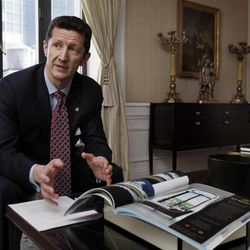 Paul Nash, general manager of the St. Regis Hotel, is interviewed in the Presidential Suite, Wednesday, March 14, 2012. A century after the Titanic sank, the legacy of the ship's wealthiest and most famous passenger, John Jacob Astor, quietly lives on at the luxury hotel he built in New York City.