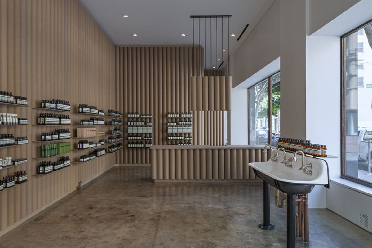 """Image of Aesop DTLA <a href=""""http://la.racked.com/archives/2014/05/21/aesops_clean_cool_apothecarystyle_shop_arrives_in_dtla.php"""">via</a>"""