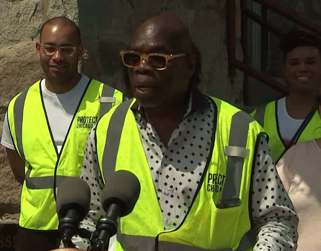 """Chicago vaccine ambassador Wallace """"Gator"""" Bradley"""" speaks at an Englewood news conference Friday."""