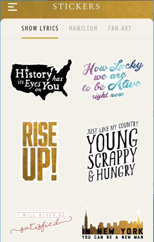 """""""Hamilton"""" stickers available through the new phone app."""
