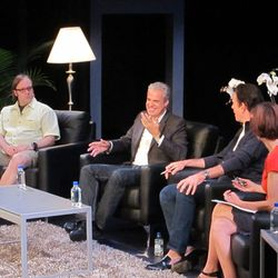 Wylie Dufresne, Eric Ripert, and Thomas Keller in a panel moderated by Dana Cowin. [Photo: Paula Forbes]