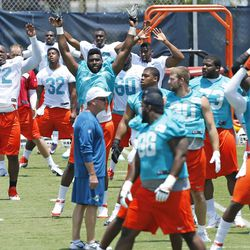 DAVIE, FL - MAY 23: Ja'Wuan James #72 of the Miami Dolphins and fellow players participate in drills during the rookie minicamp on May 23, 2014 at the Miami Dolphins training facility in Davie, Florida.