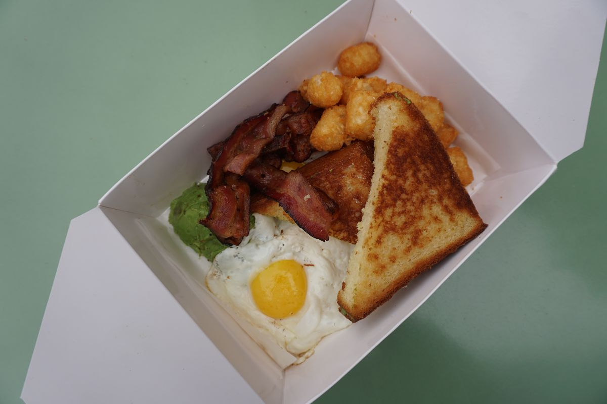 A breakfast box from The Rooster