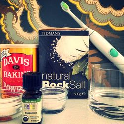 I tried a homemade toothpaste of baking soda + finely ground salt + peppermint oil + water per the advice of my dentist, who thinks the natural, store-bought toothpaste I use might be the reason my teeth are staining more easily. The toothpaste tasted lik