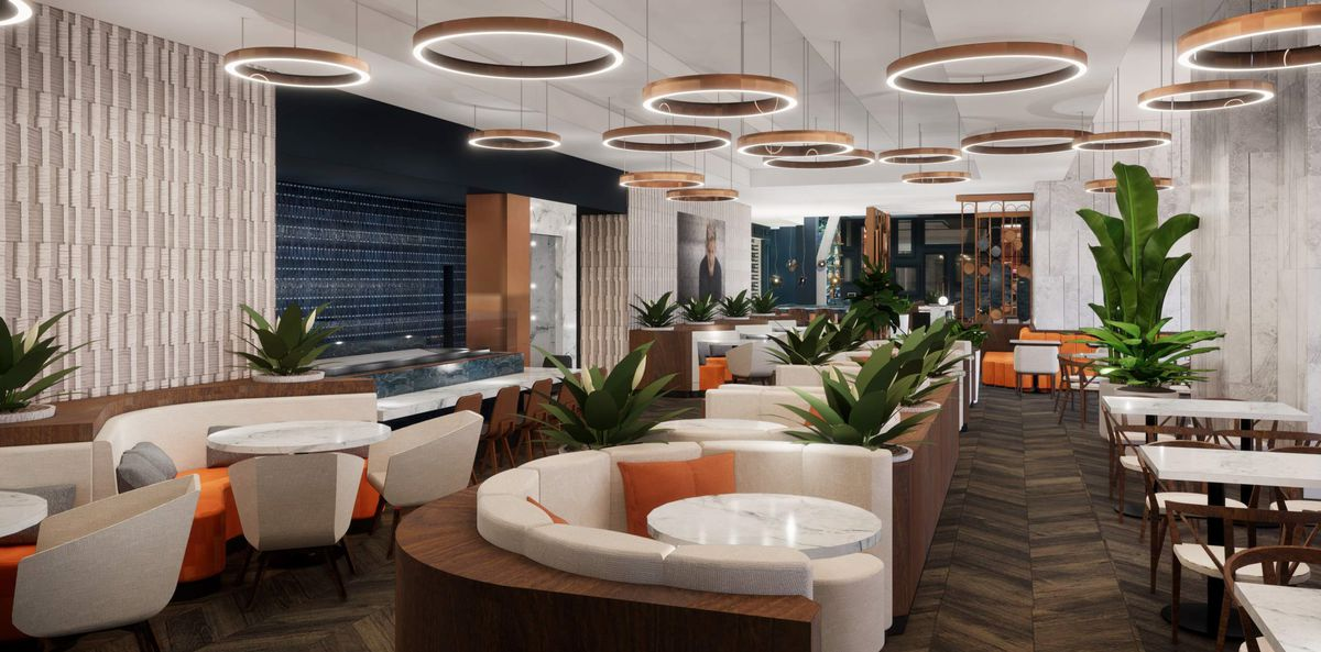 Upscale restaurant rendering featuring round booths with white upholstered furniture, a dark wood floor, and orange and blue accents