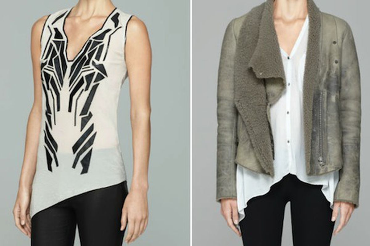 The Lyra Applique Top ($95), and the Weathered Shearling Jacket ($595)