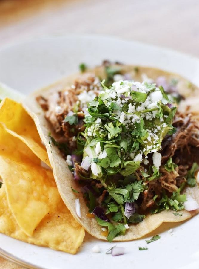 A closeup of tacos at Wonderland Ocean Pub in San Diego.