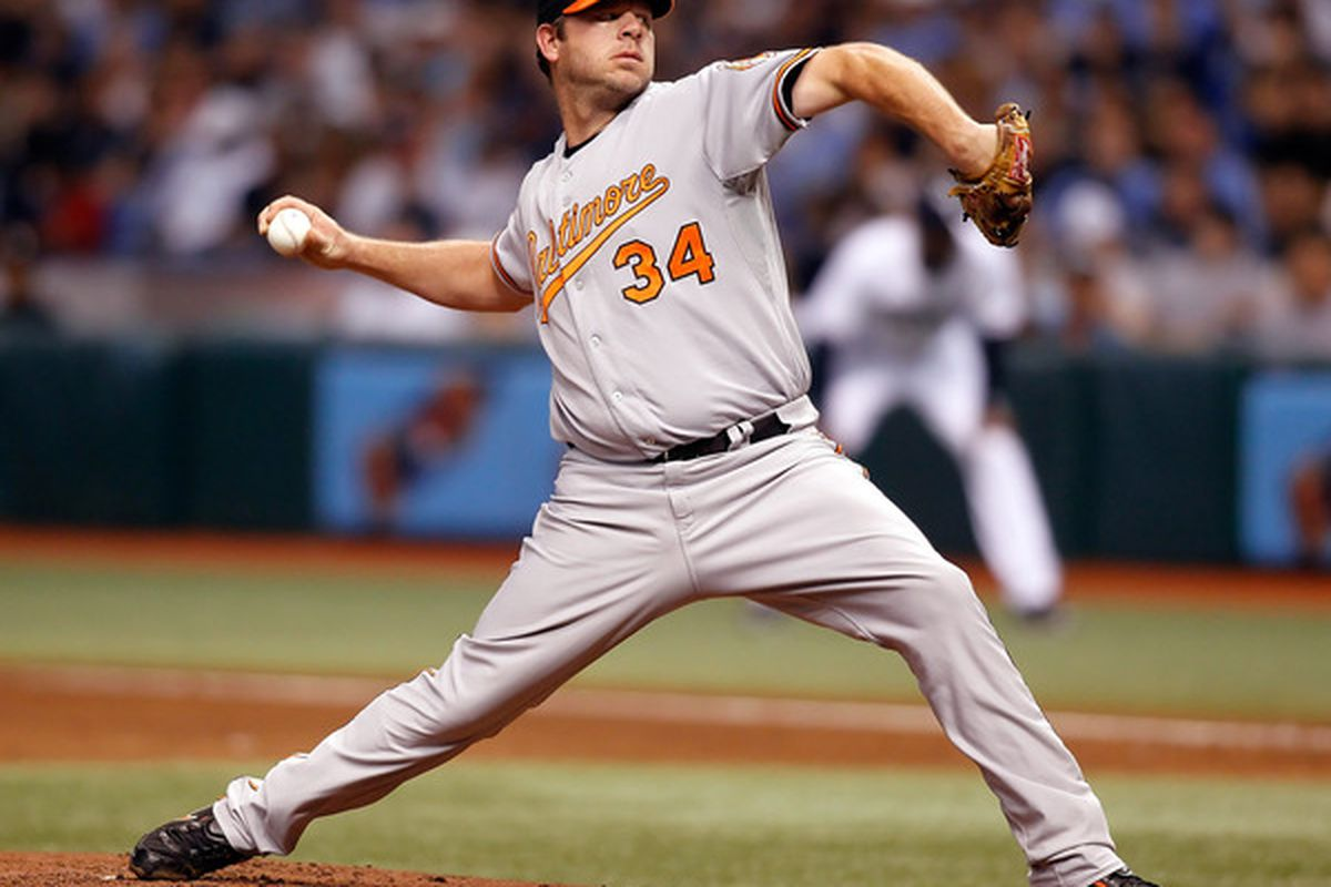 ST PETERSBURG FL - SEPTEMBER 29:  Pitcher Kevin Millwood #34 of the Baltimore Orioles pitches against the Tampa Bay Rays during the game at Tropicana Field on September 29 2010 in St. Petersburg Florida.  (Photo by J. Meric/Getty Images)