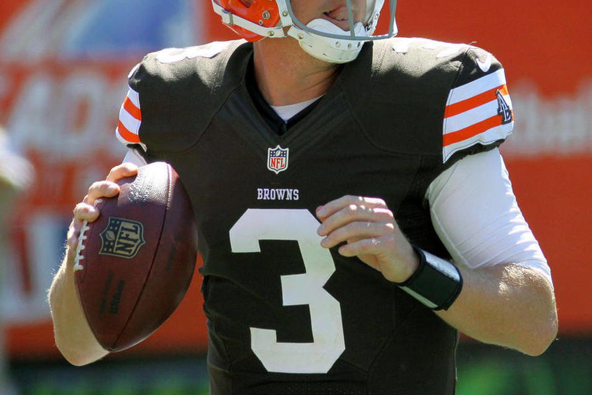 FILE - This Sept. 16, 2012 file photo shows Cleveland Browns quarterback Brandon Weeden in action against the Cincinnati Bengals in an NFL football game in Cincinnati. One week after his dismal NFL debut, Weeden dazzled. In Sunday's 34-27 loss at Cincinna